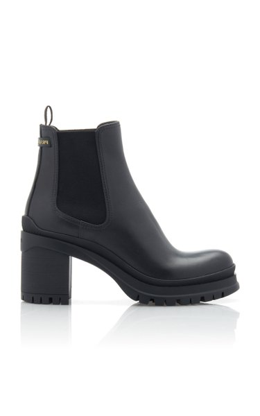 Leather And Rubber Platform Ankle Boots