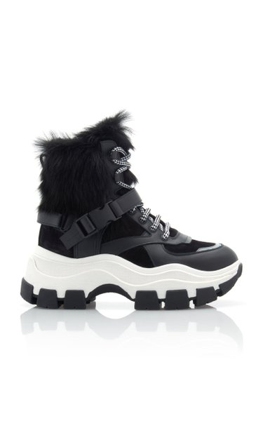Fur-Trimmed Leather And Rubber High-Top Sneakers