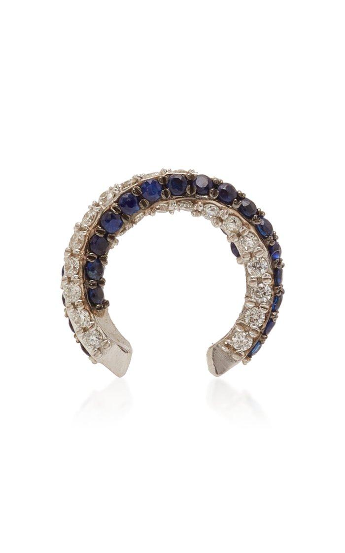 14K White Gold, Diamond And Sapphire Ear Cuff