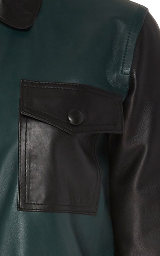 Alte Color-Block Leather Midi Dress
