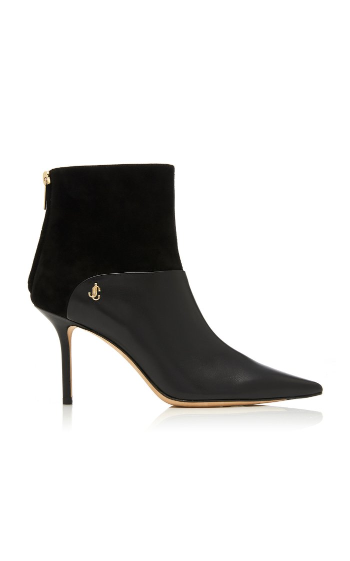 Beyla Suede-Paneled Leather Ankle Boots