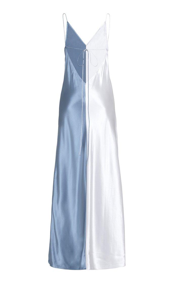 Sierra Two-Tone Silk-Satin Maxi Dress