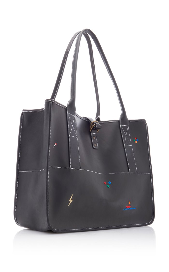 Bungalow Embroidered Leather Tote