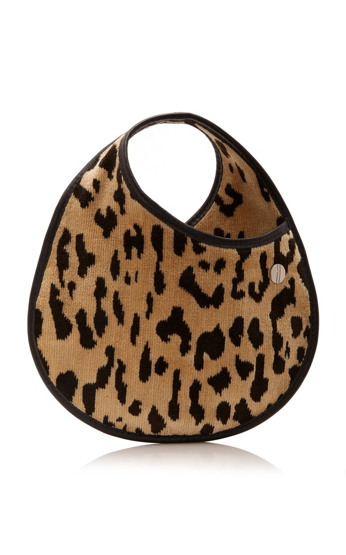 Mini Leather-Trimmed Leopard-Print Brocade Bag