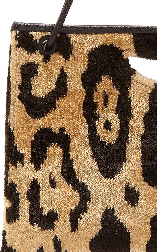 1712 Mini Leather-Trimmed Leopard-Print Brocade Bag