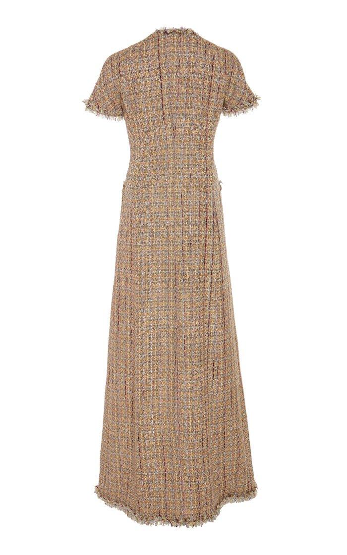 Paris Frayed Tweed Maxi Coat