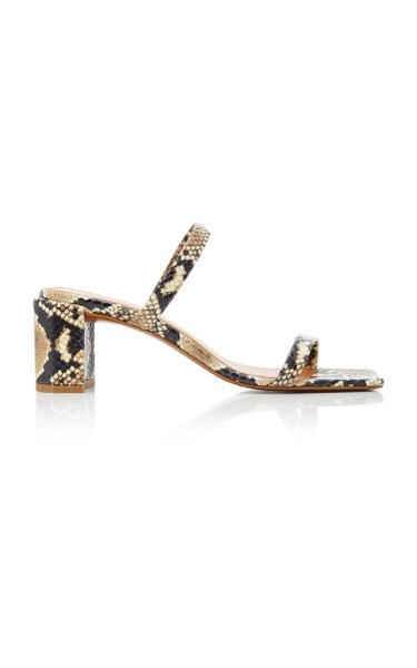 Tanya Snake-Effect Leather Sandals