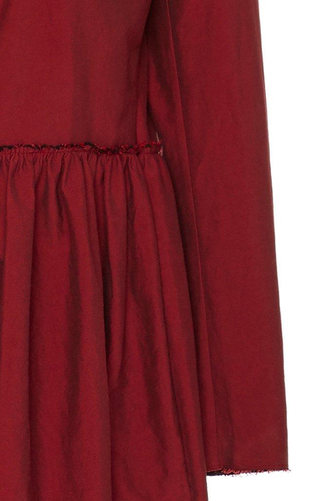 Pierina Gathered Cotton-Taffeta Dress