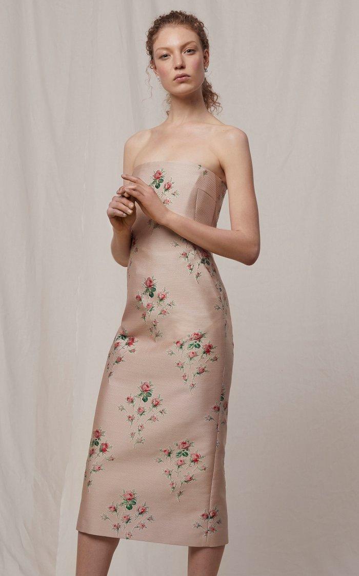 Pollie Floral-Embroidered Strapless Duchess Satin Dress