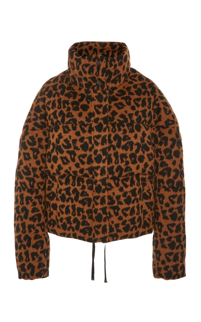 Quilted Printed Brushed-Felt Coat