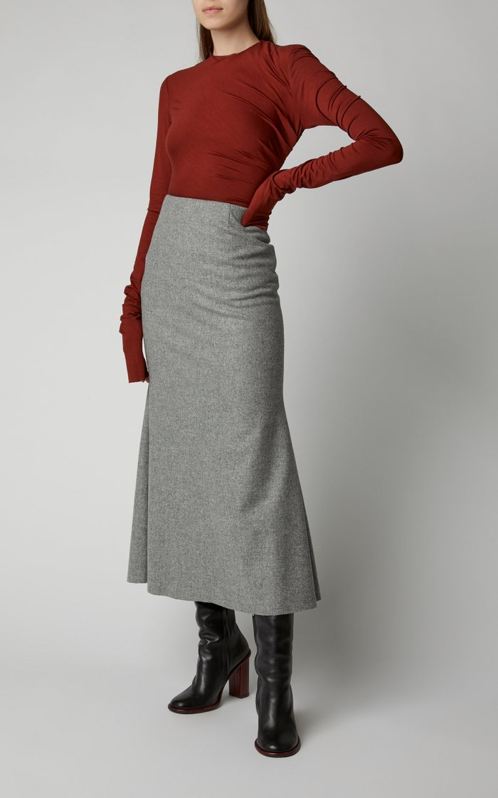 Fluted Wool-Blend Midi Skirt