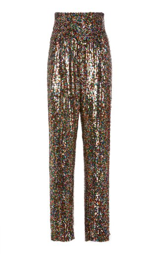 Sequined Tulle Straight-Leg Pants