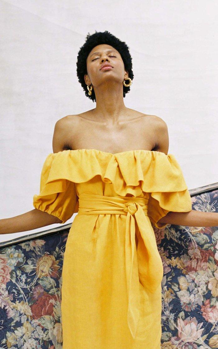 Arabella Ruffled Off-Shoulder Hemp-Twill Dress