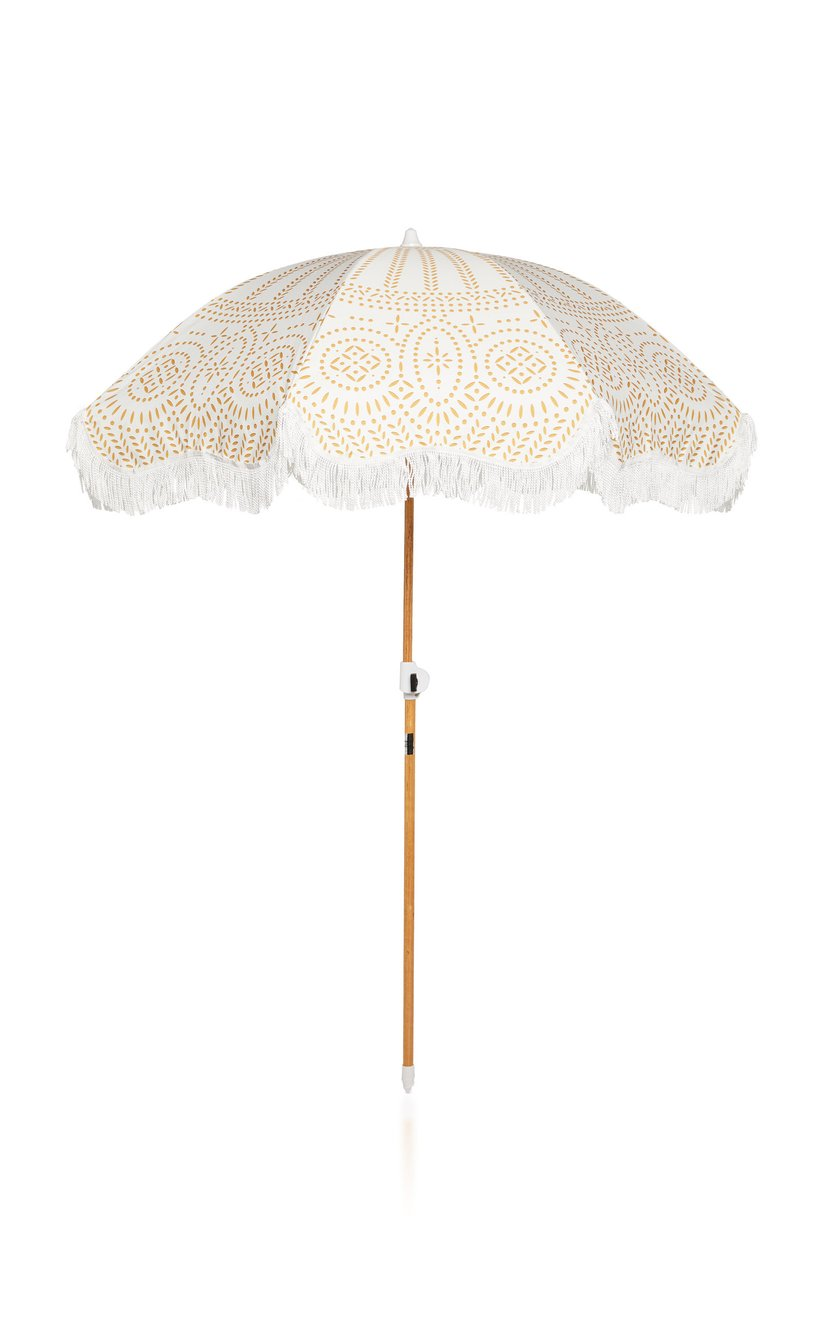 Holiday Fringed Canvas Beach Umbrella