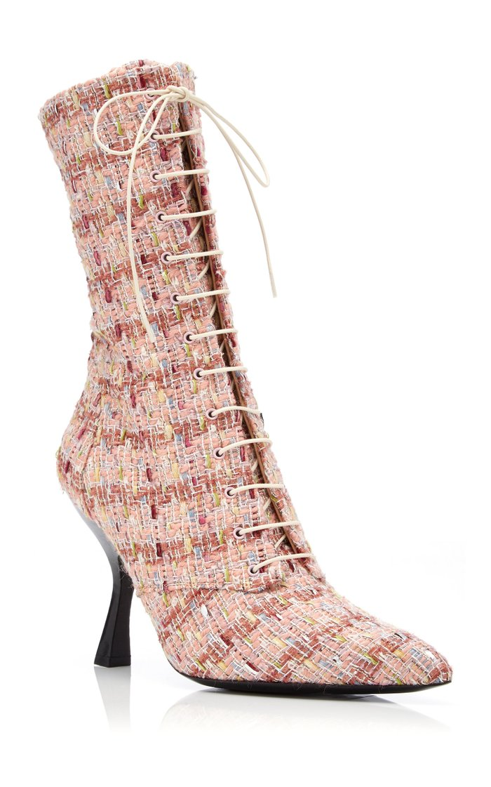 Multi-Colored Tweed Lace-Up Boots
