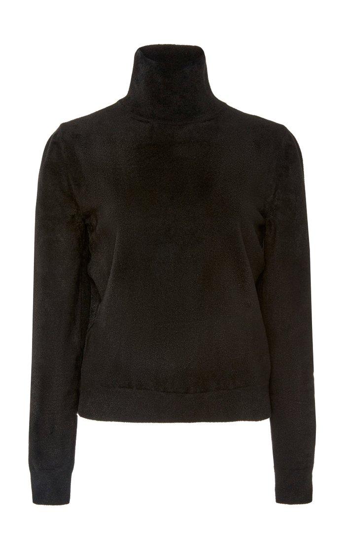 Faux-Suede Turtleneck Sweater
