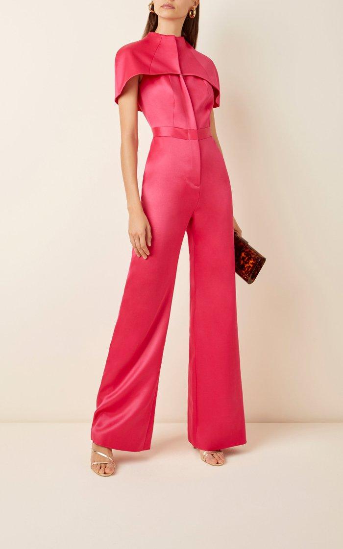 Cape-Effect Silk And Wool-Blend Wide-Leg Jumpsuit