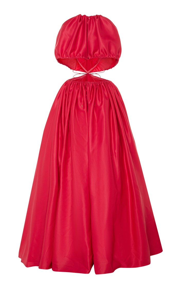 Cutout-Accented Gathered Gown