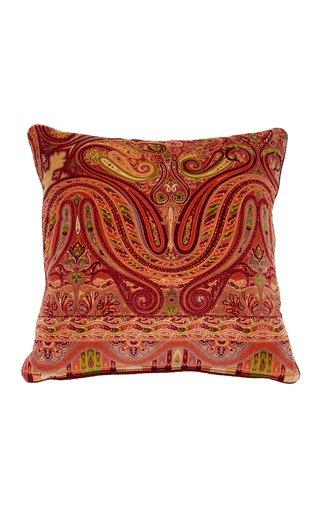 Monory Paisley-Print Velvet Cotton Cushion