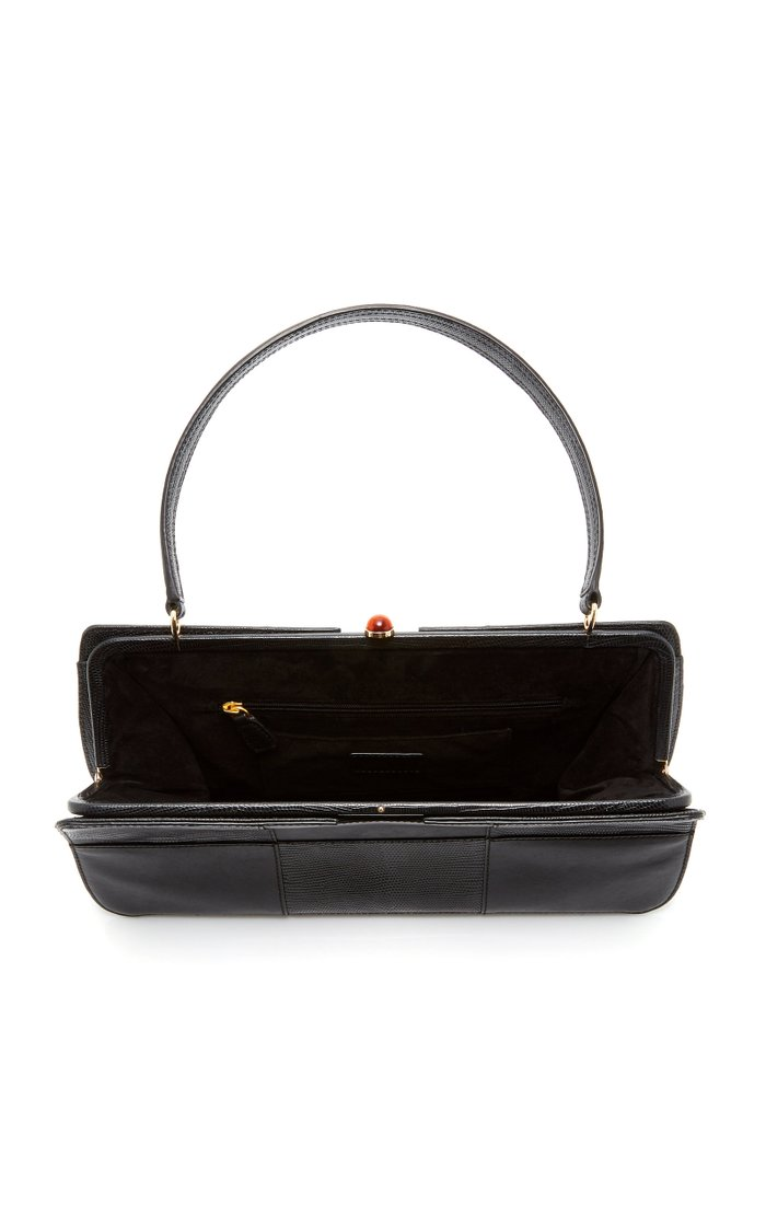 Whitney Lizard-Effect Leather Top Handle Bag