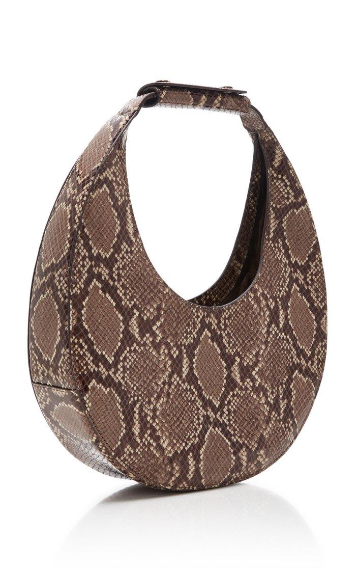 Moon Snake-Effect Leather Shoulder Bag