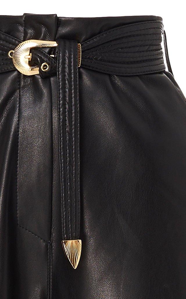 Kisa Vegan Leather Flared-Leg Pants