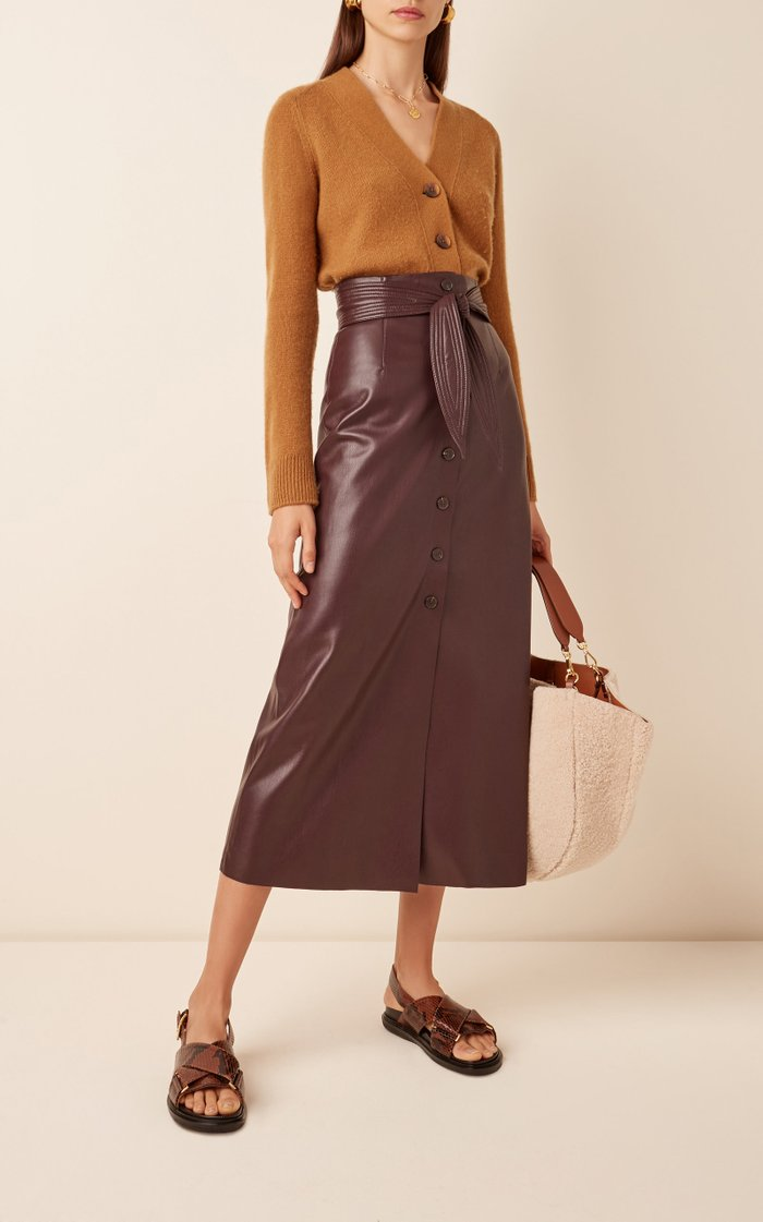 Arfen High-Waist Button-Front Skirt