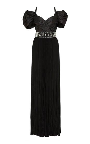 Crystal-Embellished Taffeta Gown