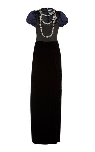 Embellished Satin-Paneled Velvet Gown