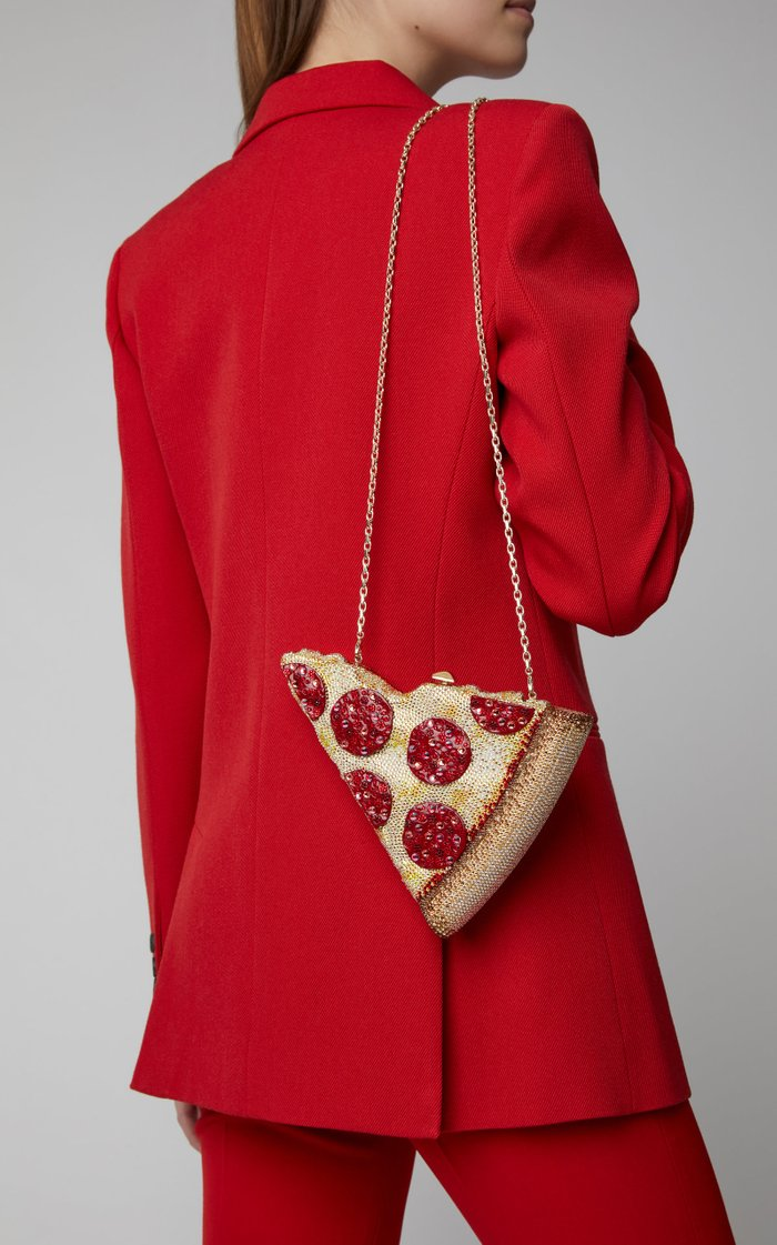 Pepperoni Pizza Crystal-Embellished Clutch