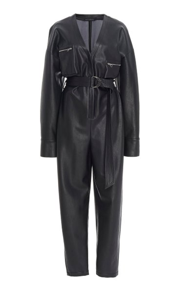 Belted Faux Leather Tapered Jumpsuit