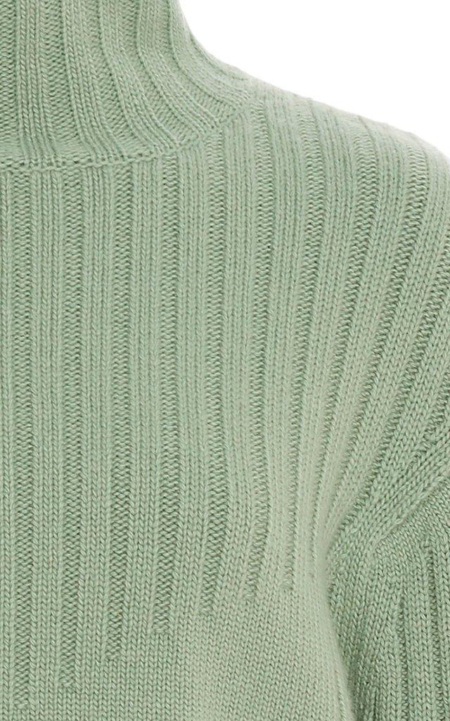 Ribbed Wool-Cashmere Turtleneck