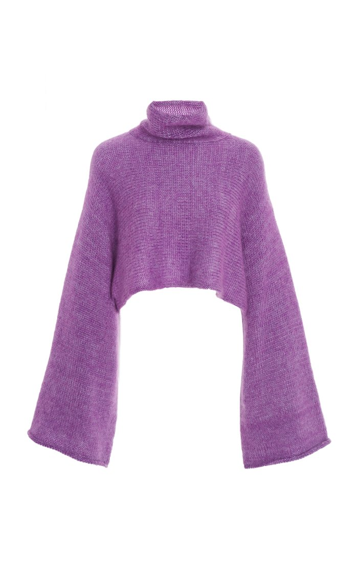 Cropped Mohair-Blend Turtleneck