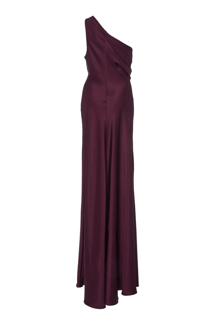 Draped One-Shoulder Silk-Satin Gown