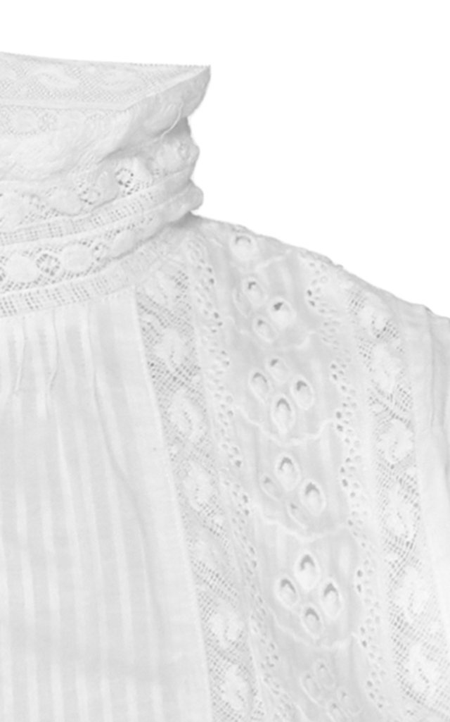 Alfie Button-Up Ruffled Cotton Mini Dress