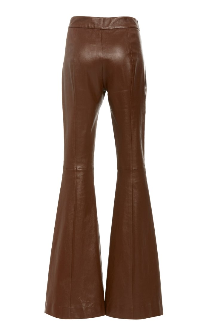 Pintuck Leather Flared Pants