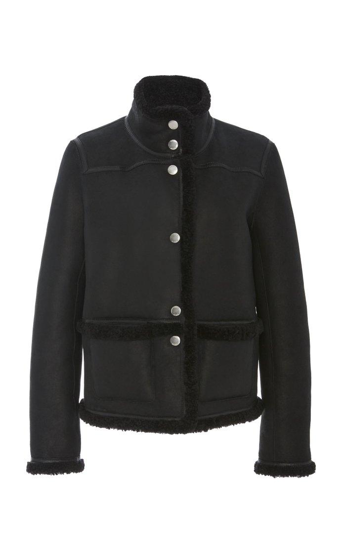 Paneled Reversible Shearling Jacket