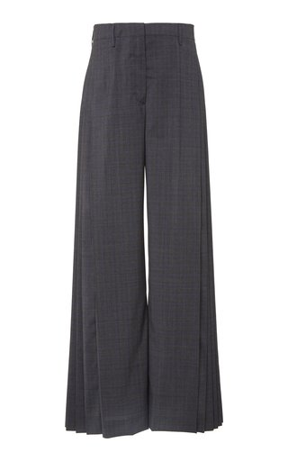Pleated Checked Wide-Leg Pants