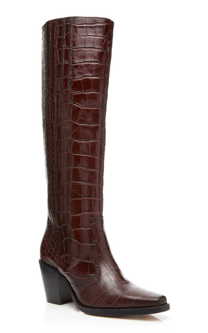 Croc-Effect Leather Knee Boots