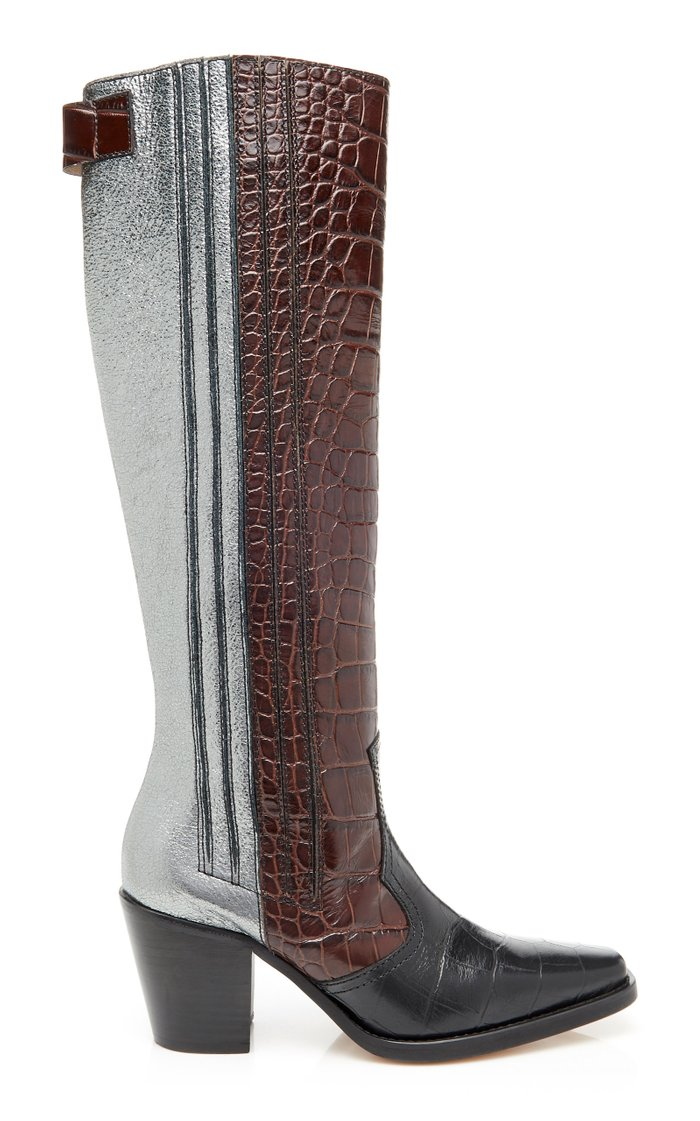 Paneled Croc-Effect Leather Knee Boots