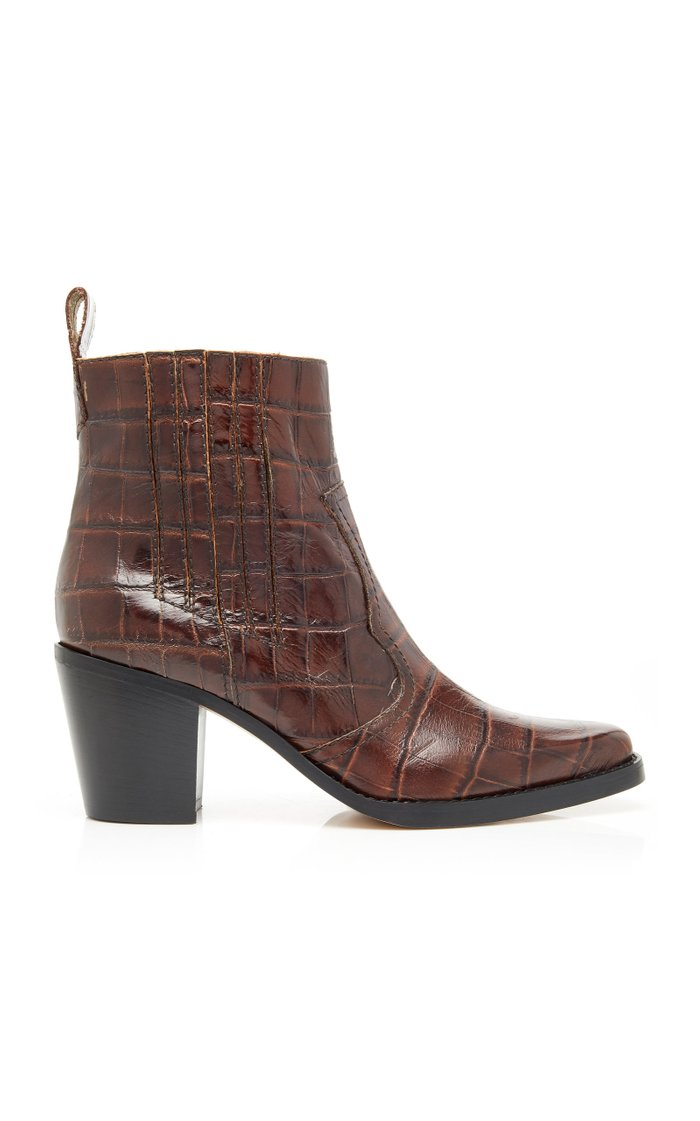 Croc-Effect Leather Ankle Boots