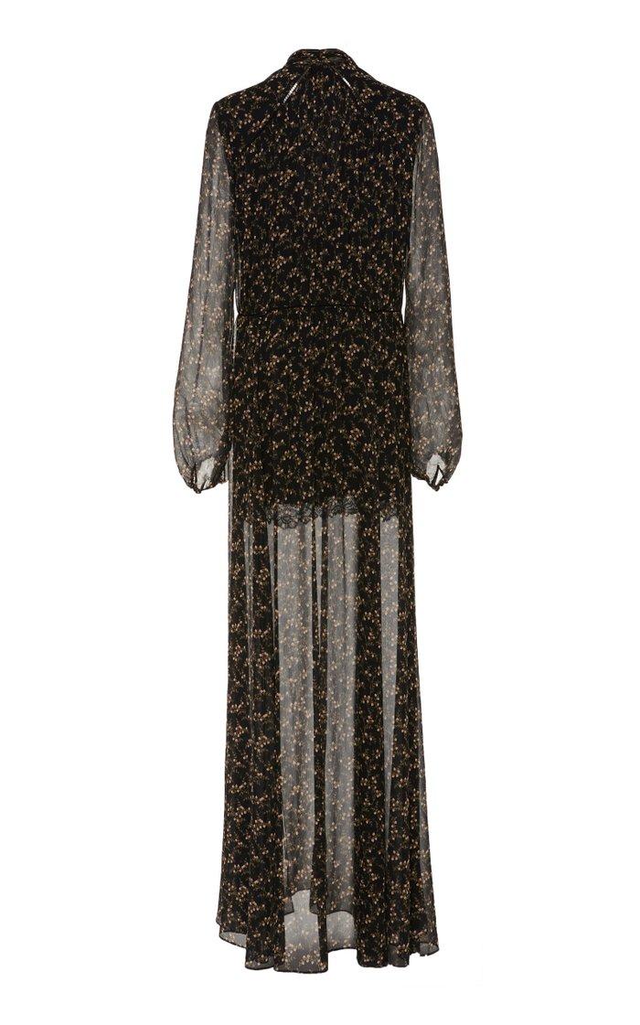 Printed Silk-Chiffon Maxi Dress