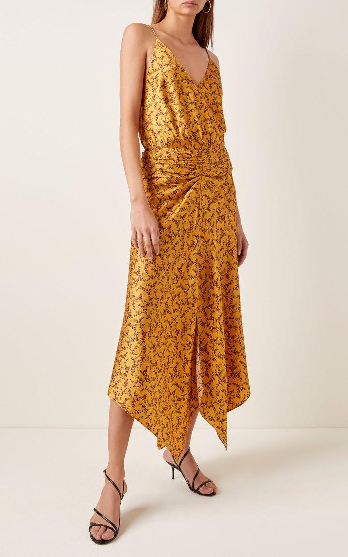 Asymmetric Ruched Printed Silk Maxi Dress