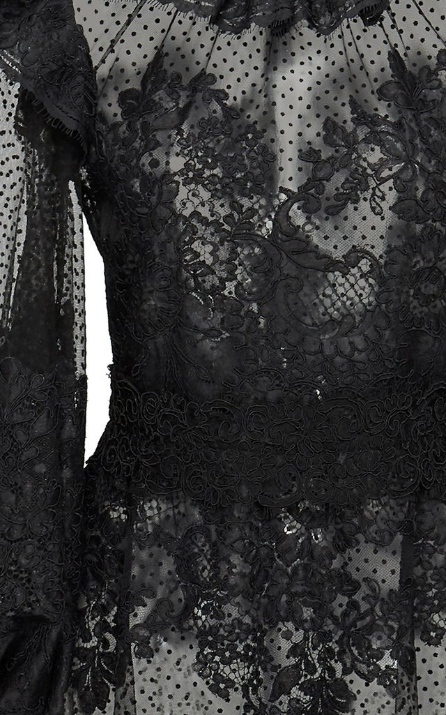 Ruffled Flocked Tulle Maxi Dress