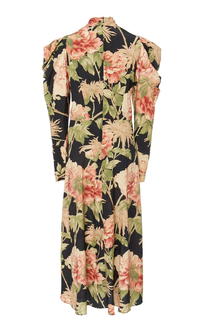 Ruched Floral-Print Silk-Blend Midi Dress