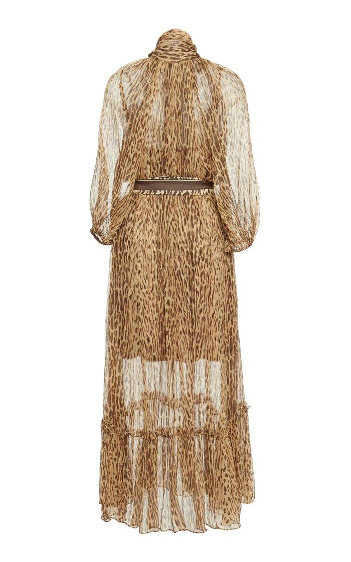 Belted Printed Silk-Chiffon Maxi Dress
