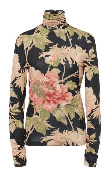 Floral-Print Cady Top