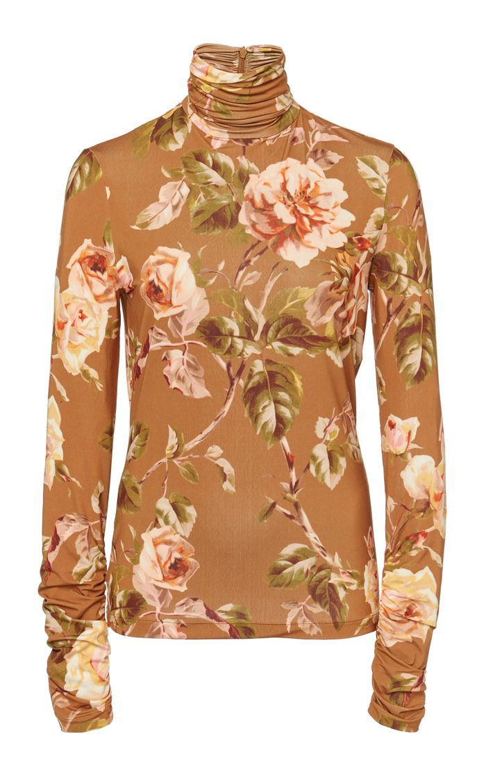 Resistance Fitted Floral-Print Cady Turtleneck Top