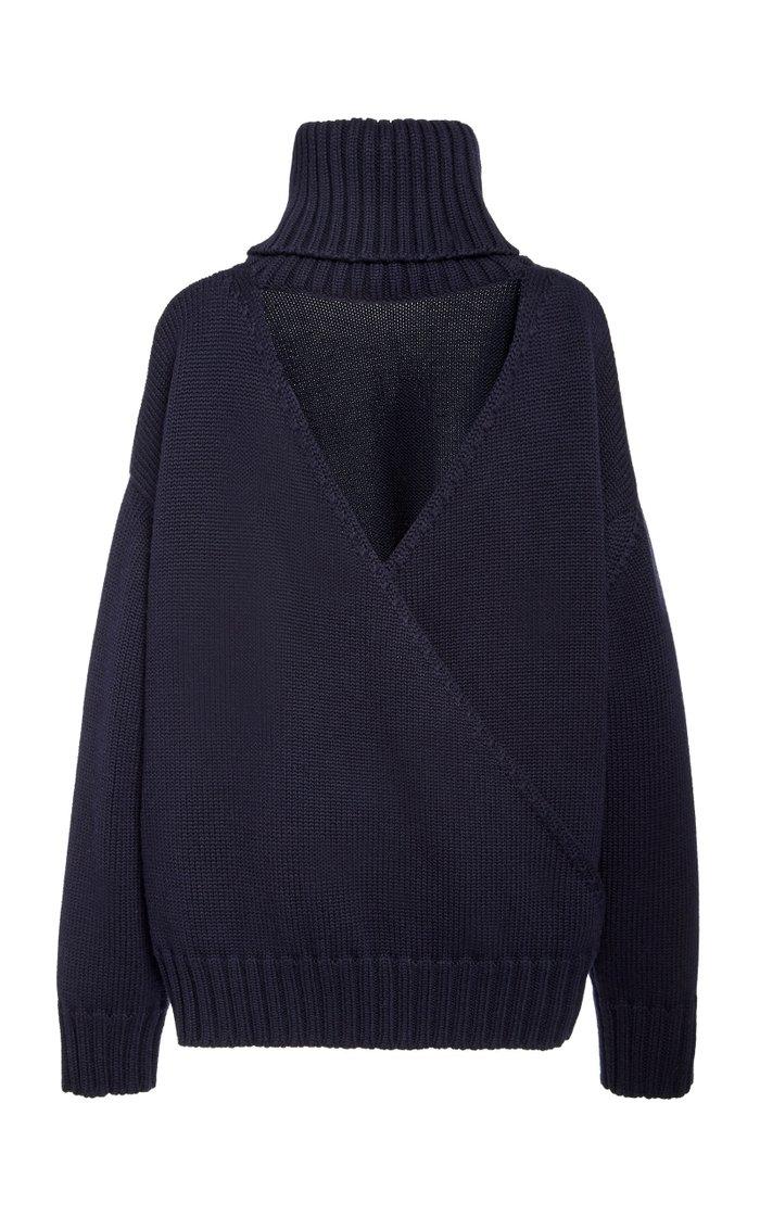 Open Back Merino Wool Sweater