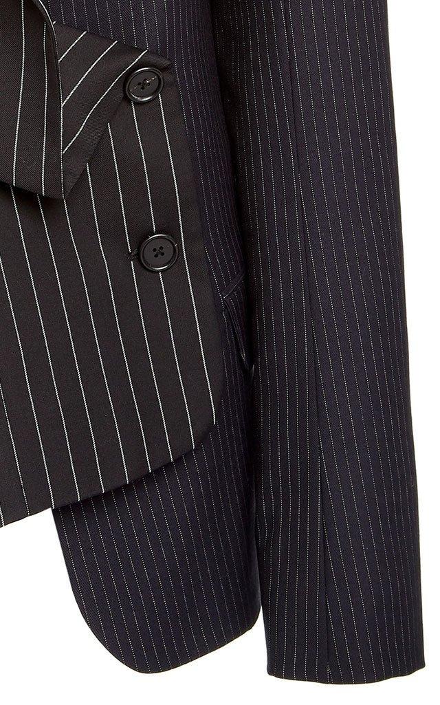 Two Tone Pinstripe Wool-Blend Blazer Jacket